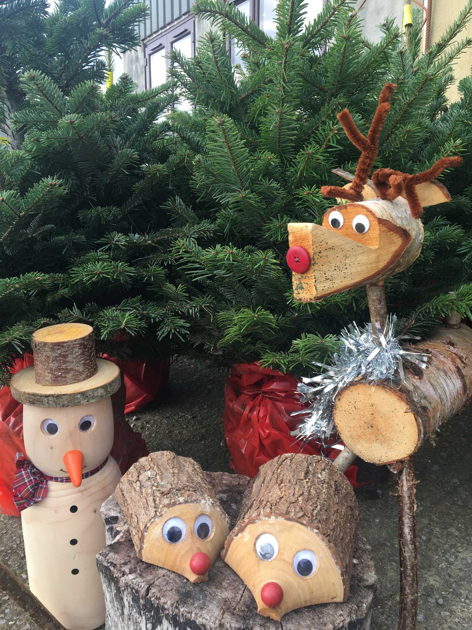 Christmas tree with wooden animals